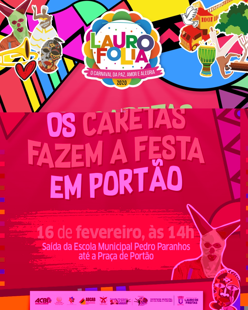 Caretas refor�am tradi��o no Carnaval de Port�o neste domingo (16)
